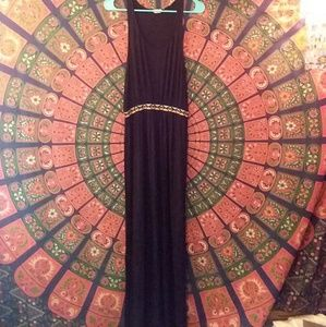 🌼 Black Maxi Dress with Tribal Print Waist 🌼
